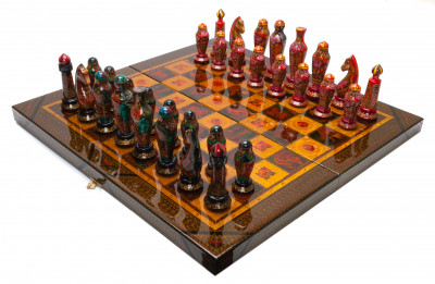 540x540 mm Medieval Russian Army handpainted figures on wooden Chess Board (by Fyodor Chess Studio)