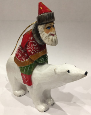 Santa on Polar Bear Christmas Ornament