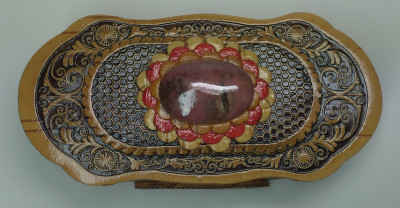 120x60 mm Siberian Patterns hand made Birchbark Jewelry Box with Rhodonite stone (by Maxim Birch)