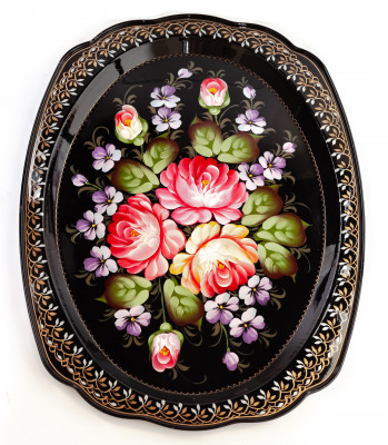 300x400 mm Zhostovo Patterns hand painted and lacquered Metal Forged Tray (by Lada Crafts)
