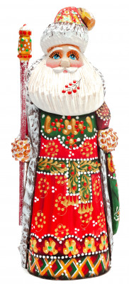 200 mm Santa Claus hand carved and painted wooden statue (by Natalia Workshop)