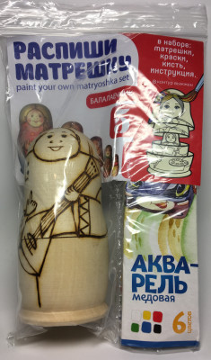 110 mm Blanc Matryoshka doll 5 pcs inside with paints, brushes, instruction manual (by Sergey Carved Wooden Dolls)