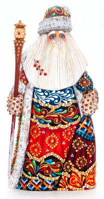 220 mm Santa Claus with a Magic Staff and a Bag handpainted Wooden Carved Statue (by Natalia Nikitina Workshop)