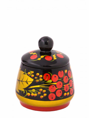 65x55 mm Khokhloma hand painted wooden Salt Cellar (by Golden Khokhloma)