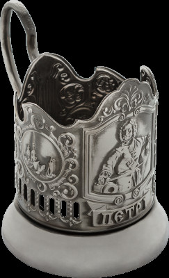 Peter the Great Nickel Plated Brass Tea Glass Holder with Faceted Glass (by Kolchugino)