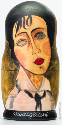 200 mm Woman With A Black Tie by Modigliani hand painted on wooden Matryoshka doll 5 pcs (by A Studio)
