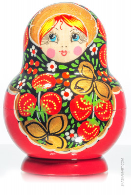 140 mm Khokhloma Patterns Hand Painted Matryoshka Doll 10 pcs (by Victor Maidan)