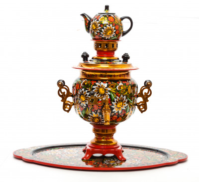 Daisies and Cranberries Hand Painted Electric Samovar Kettle with Teapot and Tray