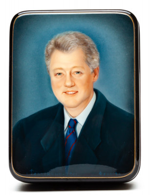 120x90mm Bill Clinton Portrait Hand Painted Jewellery Box (by Alexander G Studio)