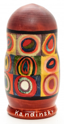 160 mm Squares with Concentric Circles by Kandinsky hand painted on wooden Matryoshka doll 5 pcs
