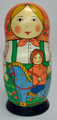 160 mm Mother with Son hand painted Traditional Russian Wooden Matryoshka doll 5 pcs (by Igor Malyutin)