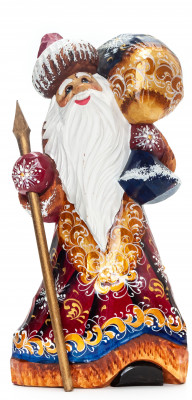 240mm Santa Claus with a Magic Staff and a Bag handpainted Wooden Carved Statue (by Igor Carved Wooden Figures Studio)