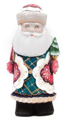170 mm Santa Claus with a Christmas tree and a Bag of Gifts Carved Wooden Figurine hand-painted (by Igor Wooden Carvings Studio)