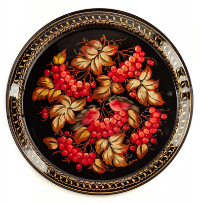 d 385 mm Zhostovo Patterns hand painted and lacquered by Hitrova Metal Forged Tray (by Lada Crafts)