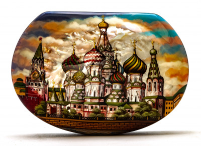 170x120mm Saint Basil Cathedral hand painted on pearl shell lacquered box from Fedoscino (by Tatiana Arts)