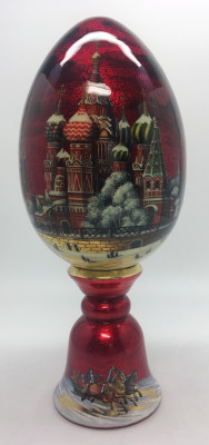 200 mm Snt Basil Cathedral Moscow hand painted on red colored wooden Egg with standby (by Tatiana Crafts)