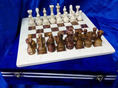 300x300 mm Brown & White Onyx Chess Pieces on Onyx Chess board (by Onyx Crfats)