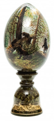 210 mm Bears In The Forest hand painted on colored wooden Egg with standby (by Tatiana Crafts)
