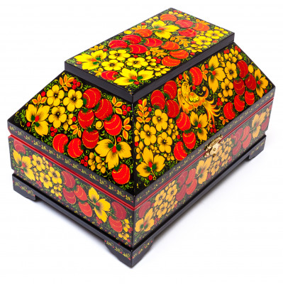 230x155 mm Khokhloma Painting Jewellery Music Wooden Box
