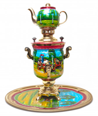 Summer Troika Hand Painted Electric Samovar Kettlewith Teapot and Tray