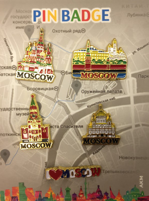 Moscow Famous Buildings set of 5 Metal Pins (by AKM Gifts)