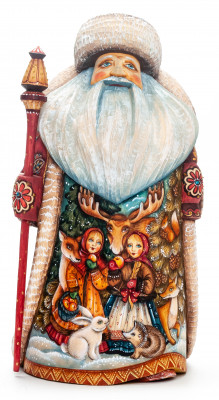 250mm Santa with a Lamp and a Magic Staff with handpainted Children in the Woods Wooden Carved Statue (by Sergey Christmas Workshop)