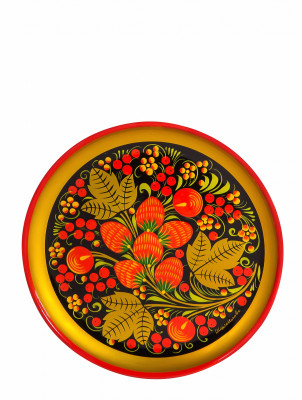 150x15 Strawberries hand Painted Wooden Wall Tray (by Golden Khokhloma)