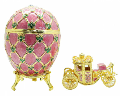 200 mm Imperial Coach and Pink Imperial Coronation Easter Egg