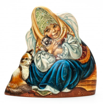130 mm Girl with a Kitten hand painted Wooden Statue (by Nadezhdin Studio)