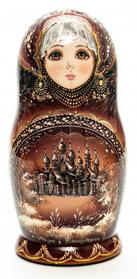 200 mm The Churches of Kizhi hand painted Matryoshka round Doll 5 pcs (by A Studio)