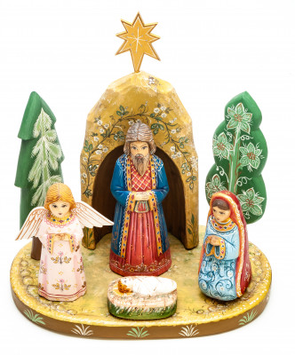 Nativity Set of 7 handpainted Carving Wooden Figures