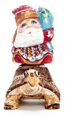 140 mm Santa with a Bag Riding the Turtle handpainted Wooden Carved Statue (by Igor Carved Wooden Figures Studio)