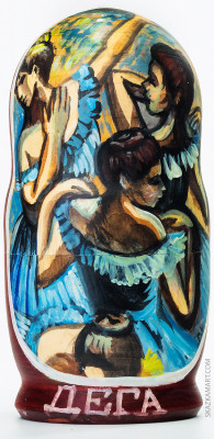 200 mm Blue Dancers by Degas hand painted wooden Russian Matryoshka doll 5 pcs (by Alexander Studio)