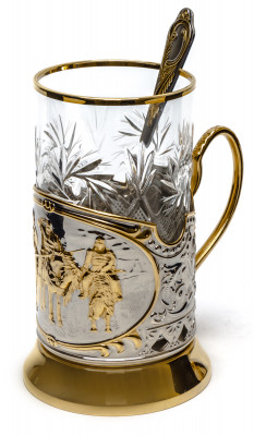 The Three Bogatyrs Gold Plated Brass Tea Glass Holder with Crystal Glass and Gold Plated Tea Spoon (by Kolchugino)