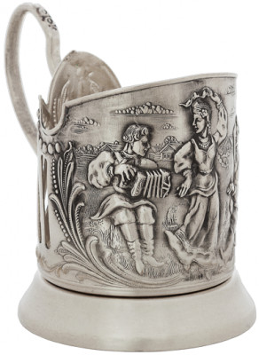 Fair Dance of Russian Girls Silver Plated Brass Tea Glass Holder with Faceted Glass and Silver Plated Spoon (by Kolchugino)