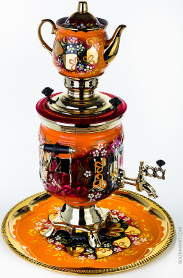 Wood Grouse Hand Painted Electric Samovar Kettle with Teapot and Tray