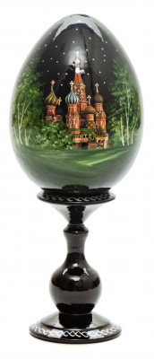 170 mm Saint Basil Cathedral in Summer wooden Egg on stand