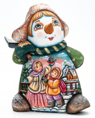 190 mm Snowman with a Shovel and Children feeding Bullfinches wooden figurine (by Natalia Nikitina Workshop)