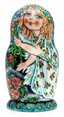 130 mm Girl with Roses hand painted Matryoshka 5 pcs (by Galina Ulianova)