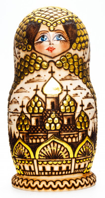 170 mm Moscow Cathedrlas hand burnt and painted Wooden Matryoshka doll 5 pcs (by Olga Burnt Dolls)
