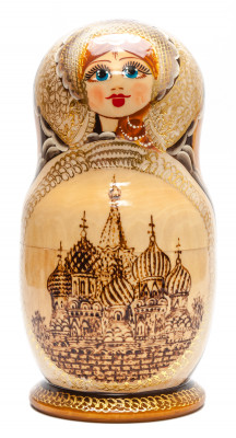 260 mm Moscow Saint Basil Cathedral hand painted burnt Matryoshka Doll 10 pcs inside (by Valery Studio)
