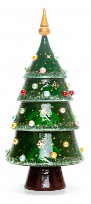 240 mm Christmas Wooden Green Tree with Hand Painted Garlands and Decorations