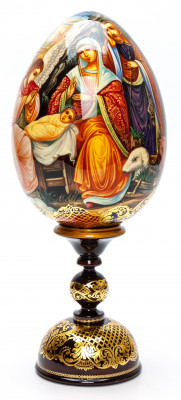 250 mm The Nativity of Jesus hand painted on wooden egg (by Hamlet Crafts)