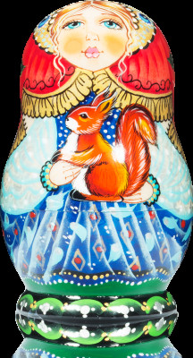 90 mm Girl with a Squirrel ahnd painted wooden Matryoshka doll 5 pcs (by Vasily Crafts)