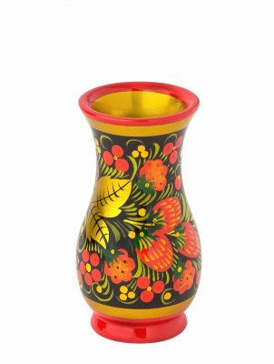 95x55 mm Khokhloma hand painted wooden Vase (by Golden Khokhloma)