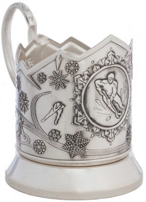 Hockey Silver Plated Brass Tea Glass Holder with Faceted Glass and Silver Plated Spoon (by Kolchugino)