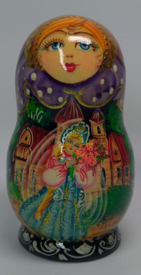 110mm The Scarlet Flower hand painted Matryoshka doll 5pcs