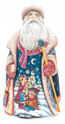 200 mm Santa with a Magic Staff and a Bag with handpainted Children Wooden Carved Statue (by Igor Carved Wooden Figures Studio)