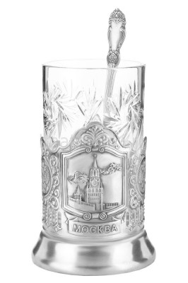 Spasskaya Tower of Kremlin Silver Plated Brass Tea Glass Holder with Faceted Glass and Silver Plated Spoon (by Kolchugino)