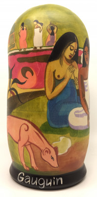 200 mm Arearea by Gauguin hand painted on wooden Matryoshka doll 5 pcs (by Alexander Famous Paintings Studio)